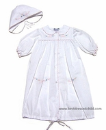Carriage Boutique Newborn Baby Girls White Daygown / Bonnet with Shadow Stitch Embroidery
