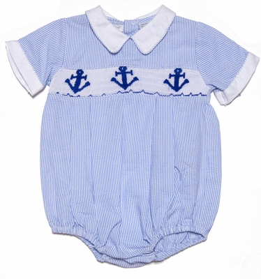 Carriage Boutiques Baby Boys Blue Smocked Anchors Bubble