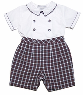 Carriage Boutiques Baby Boys Holiday Plaid Button On Outfit