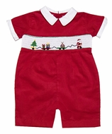 Carriage Boutiques Baby Boys Red Corduroy Smocked Santa Claus Christmas Shortall