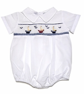Carriage Boutiques Baby Boys White Bubble - Smocked Sailboats