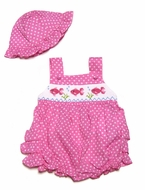 Carriage Boutiques Baby Girls Hot Pink / White Dots Smocked Fish - Bubble & Hat