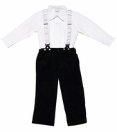 Carriage Boutiques Baby / Toddler Boys Black Corduroy Faux Suspender Pants Outfit