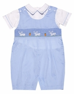Carriage Boutiques Baby / Toddler Boys Blue Smocked Easter Bunnies Shortall