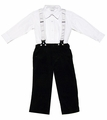 Carriage Boutiques Baby / Toddler Boys Navy Blue Corduroy Faux Suspender Pants Outfit