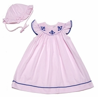Carriage Boutiques Baby / Toddler Girls Pink Smocked Anchors Dress