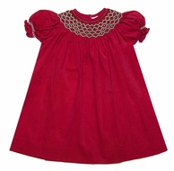 Carriage Boutiques Baby / Toddler Girls Red Corduroy Bishop Dress - Smocked in Green for Christmas