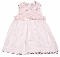 Carriage Boutiques Baby / Toddler Girls Sleeveless Pink Smocked Dress with Eyelet Collar