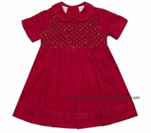 Carriage Boutiques Girls Christmas Red Corduroy Smocked Bodice Dress