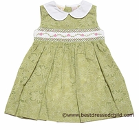 Carriage Boutiques Girls Green Print Dress with Smocked Pink Vines - Sleeveless
