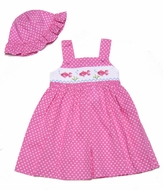 Carriage Boutiques Girls Hot Pink / White Dots Smocked Fish - Sun Dress & Hat