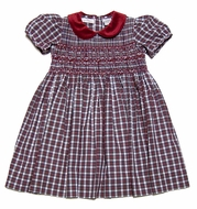 Carriage Boutiques Girls Red Holiday Plaid Smocked Dress with Velvet Collar