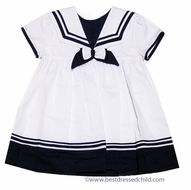 Carriage Boutiques Girls White Sailor Suit Dress with Navy Blue Trim