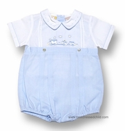 Carriage Boutiques Infant Baby Boys Bubble Creeper with Train Embroidery - BLUE