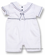 Carriage Boutiques Infant Baby Boys Sailor Suit Romper - All WHITE