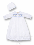 Carriage Boutiques Infant Baby Boys White Gown with Hat and Smocked Blue Train