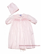 Carriage Boutiques Infant Baby Girls Sweet Pink Smocked Daygown / Bonnet