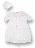 Carriage Boutiques Infant Baby Girls Sweet White Gown with Pink Smocking and Bow & Bonnet