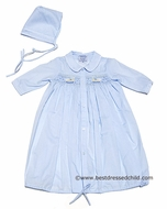 Carriage Boutiques Infant Boy Light Blue Day Gowns with Smocked Rocking Horse and Hat