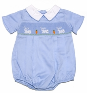 Carriage Boutiques Infant Boys Blue Smocked Easter Bunnies Bubble