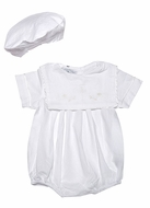 Carriage Boutiques Infant Boys White Bubble & Hat - Embroidered Cross