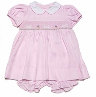 Carriage Boutiques Infant Girls Pink Smocked Easter Bunnies Dress (Bloomers with 3M thru 9M)