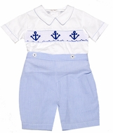 Carriage Boutiques Infant / Toddler Boys Blue Smocked Anchors Button On Suit