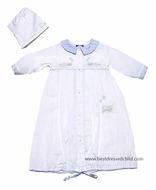 Carriage Boutiques Newborn Baby Boys White Day Gown with Hat - Blue Train Embroidery