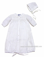 Carriage Boutiques Newborn Boys / Girls White Smocked Day Gowns with Hat