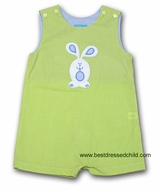 Clair and Charlie Baby Boys Lime Green Gingham Shortall - Applique Easter Bunny