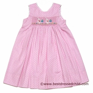 Clair and Charlie Girls Pink Polka Dot Smocked Easter Bunnies with Baskets - SLEEVELESS Dress