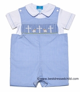 Clair & Charlie Baby / Toddler Boys Light Blue Mini Gingham Shortall with Shirt - Smocked Easter Cross / Lambs
