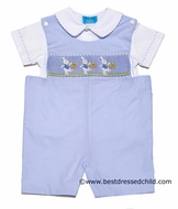 Claire and Charlie Baby Boys Light Blue Smocked Easter Bunny Baskets - Shortall with Shirt