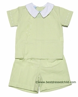 Claire and Charlie Baby / Toddler Boys Spring Green Stripe Seersucker Dressy Shorts Set