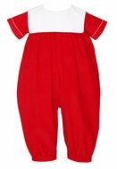Claire & Charlie Baby Boys Red Corduroy Christmas Romper with Square Collar