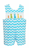 Claire & Charlie Baby Boys Turquoise Chevron Smocked Colorful Easter Bunnies Shortall