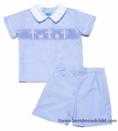 Claire & Charlie Baby / Toddler Boys Blue Poplin Smocked Cross / Lamb Shorts Set with Collar