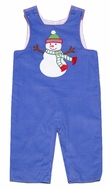 Claire & Charlie Baby / Toddler Boys Periwinkle Blue Corduroy Applique Holiday Snowman Longall