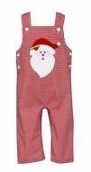Claire & Charlie Baby / Toddler Boys Red Gingham Santa Face Longall