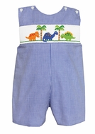 Claire & Charlie Baby / Toddler Boys Royal Blue Gingham Smocked Dinosaurs Shortall