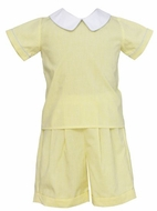 Claire & Charlie Baby / Toddler Boys Yellow Gingham / Blue Trim Shorts Set
