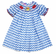 Claire & Charlie Baby / Toddler Girls Blue Chevron Smocked Crayons Box / Red Apples Bishop Dress