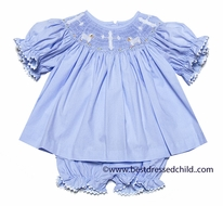 Claire & Charlie Baby / Toddler Girls Blue Poplin Smocked Crosses / Lambs Bloomers Set