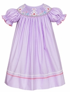 Claire & Charlie Baby / Toddler Girls Lavender / White Dots Smocked Easter Bunnies Bishop Dress