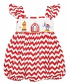 Claire & Charlie Baby / Toddler Girls Red Chevron Smocked Circus Bubble