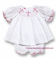 Claire & Charlie Baby / Toddler Girls White Pique Smocked Pink Crosses Bloomers Set