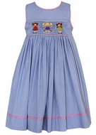 Claire & Charlie Blue Check Smocked Jumping Rope Girls - Sleeveless Dress