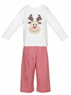 Claire & Charlie Boys Applique Reindeer Shirt with Red Gingham Pants
