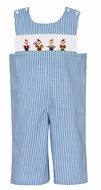 Claire & Charlie Boys Blue Gingham Smocked Snow White's Dwarves Longall