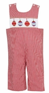 Claire & Charlie Boys Red Gingham Smocked Christmas Ornament Longall